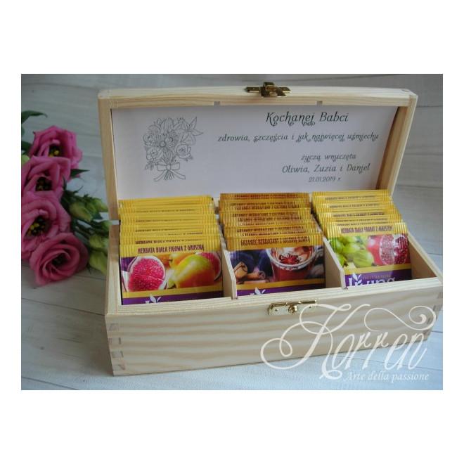 Drewniane pudełeczko podziękowanie + herbata/ rafia