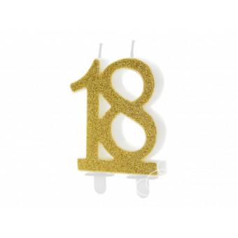 Świeczka urodzinowa 18 - złota