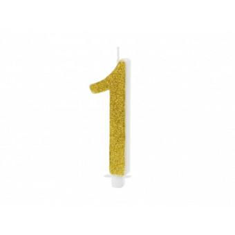 Świeczka urodzinowa 1 - złota