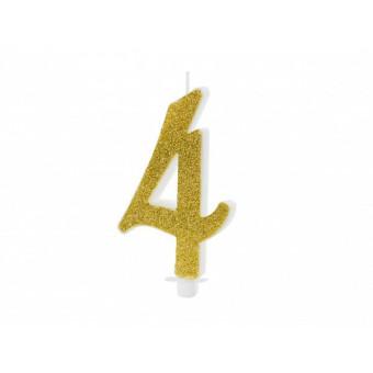 Świeczka urodzinowa 4 - złota