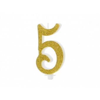 Świeczka urodzinowa 5 - złota