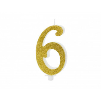 Świeczka urodzinowa 6 - złota