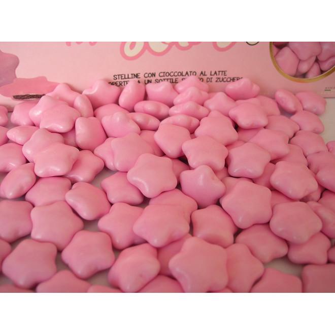 Czekoladki gwiazdki w lukrze - różowe 0,5 kg