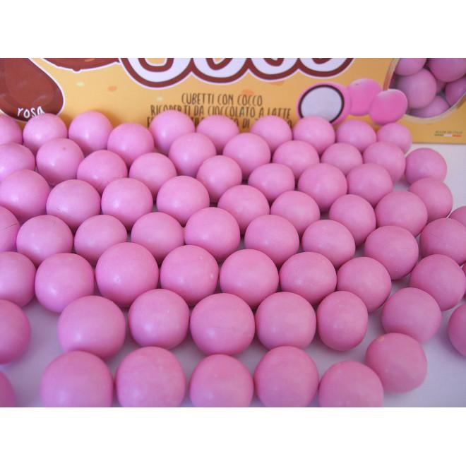 Kokos w czekoladzie i w lukrze - różowe 0,5 kg