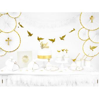 2Serwetki Komunia Święta ornament złote- białe