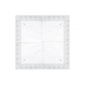 2Serwetki Komunia Święta ornament srebrny - białe